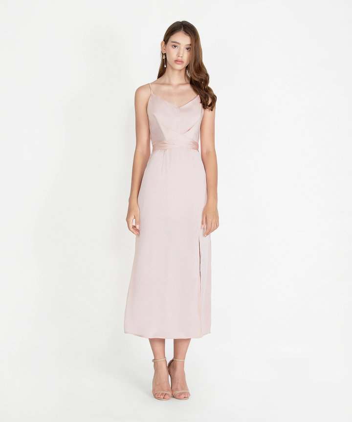 Champagne Satin Maxi Dress - Pink Champagne