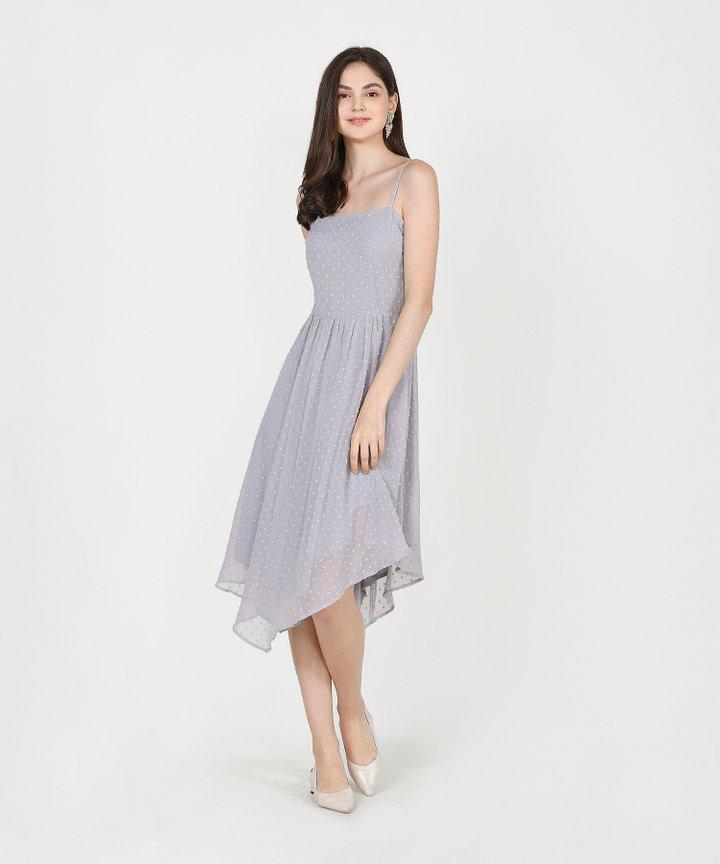 Chiara Textured Asymmetrical Midi Dress - Pale Grey