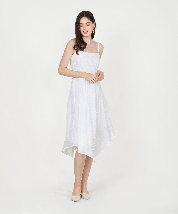Chiara Textured Asymmetrical Midi Dress - White