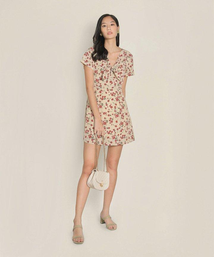 Clemence Floral Dress - Beige