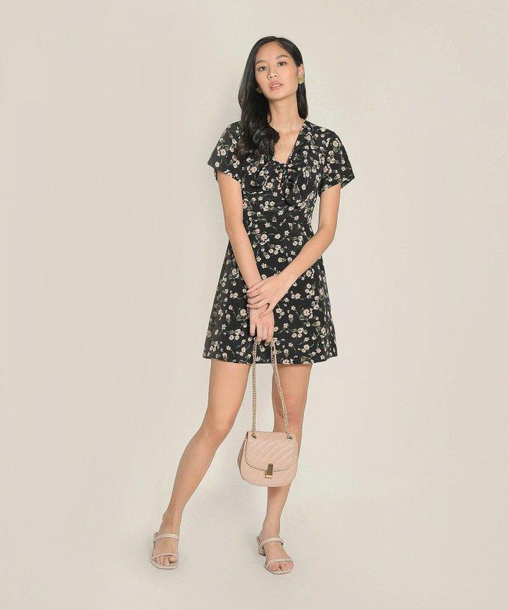 Clemence Floral Dress - Black