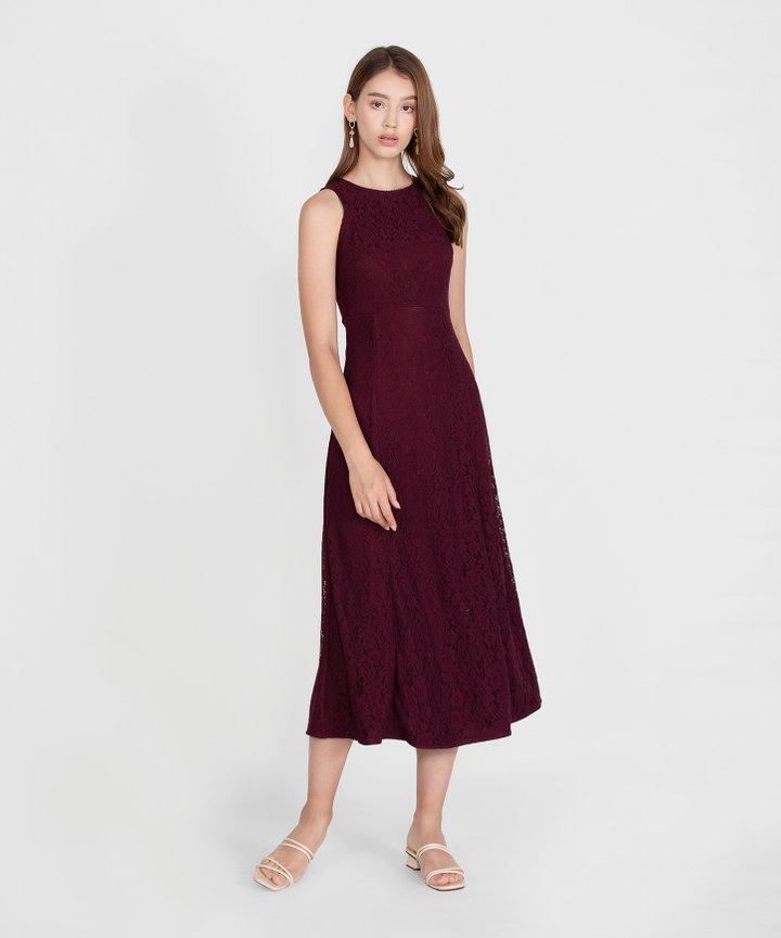 Hellenika Lace Maxi Dress - Burgundy