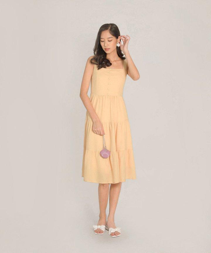 Maje Gathered Midi Dress - Daffodil