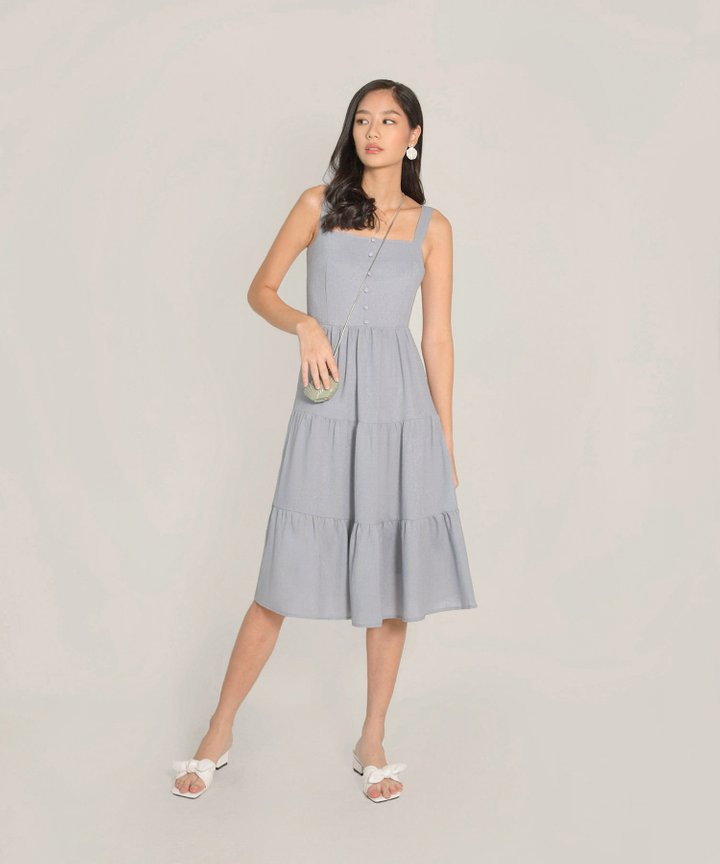 Maje Gathered Midi Dress - Pale Periwinkle
