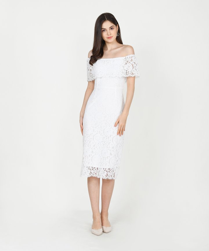 Marie Lace Off-Shoulder Midi Dress - White
