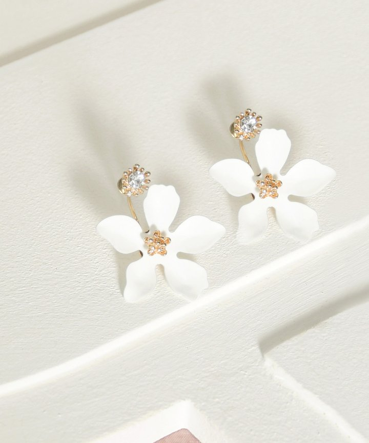 Pastures Floral Earrings - White