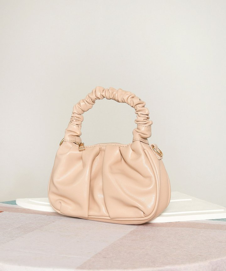 Potpourri Ruched Handle Purse - Nude Pink