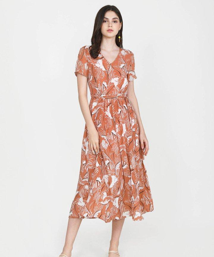 Quinn Printed Maxi Dress - Terracotta