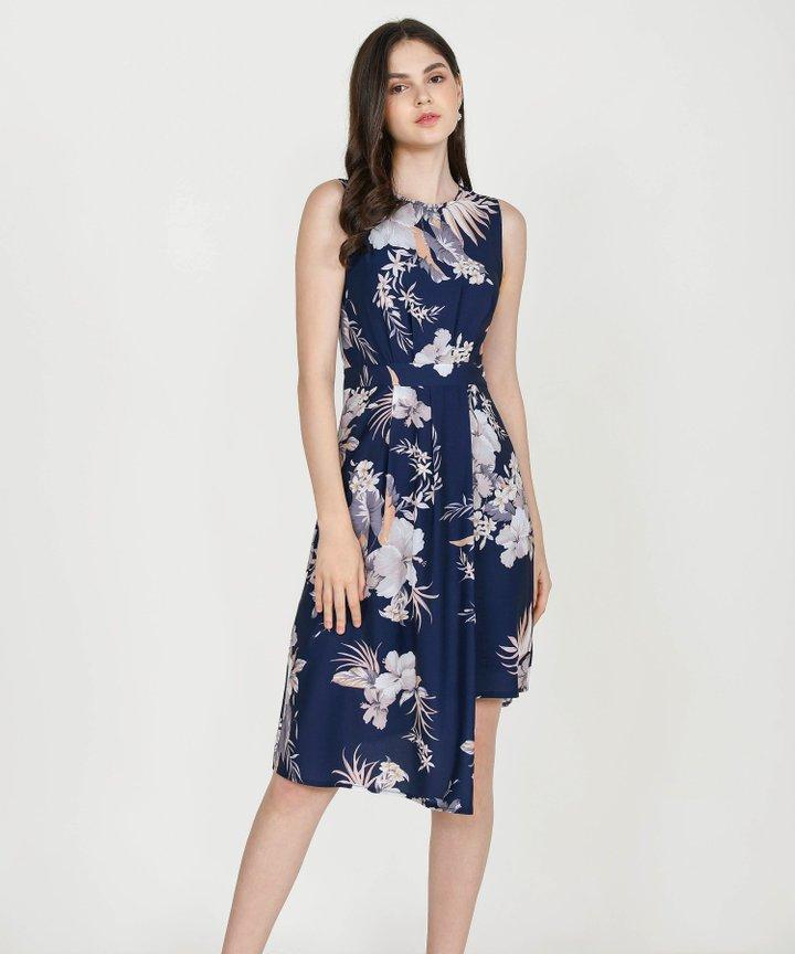 Saloni Floral Asymmetrical Midi Dress - Midnight Blue