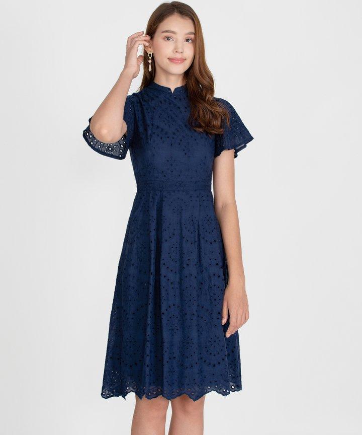 Serenity Eyelet Midi Dress - Navy
