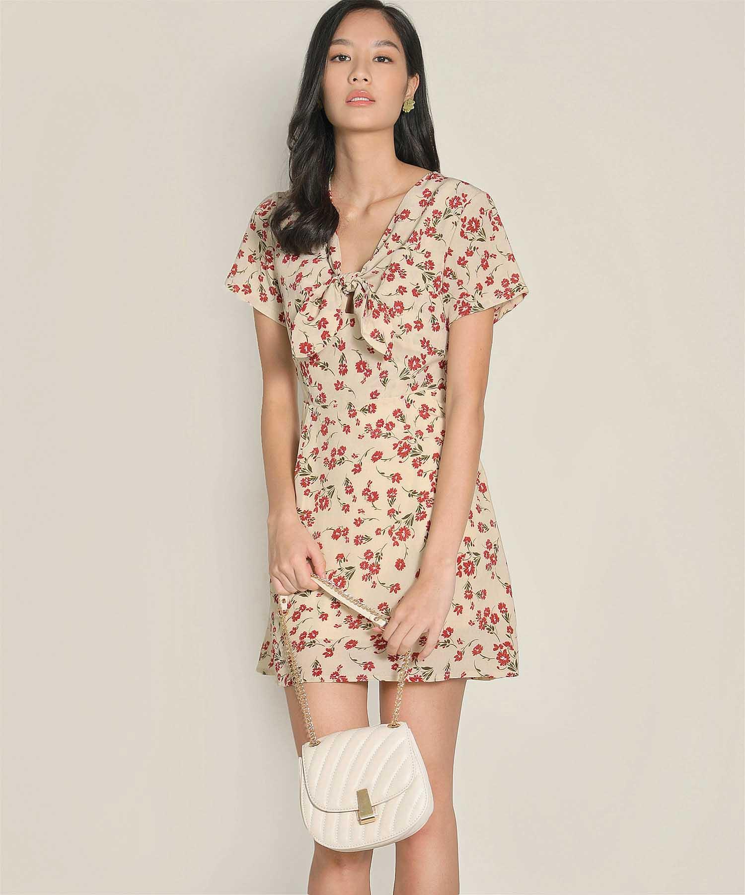 clemence-floral-dress-beige-1