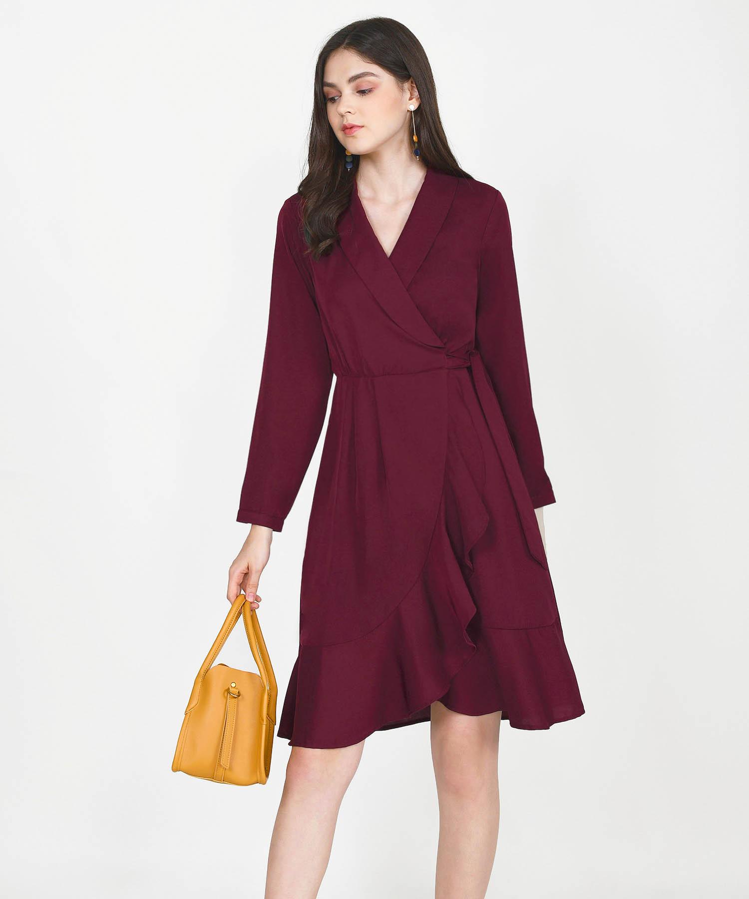 melisse-wrap-midi-dress-maroon-1