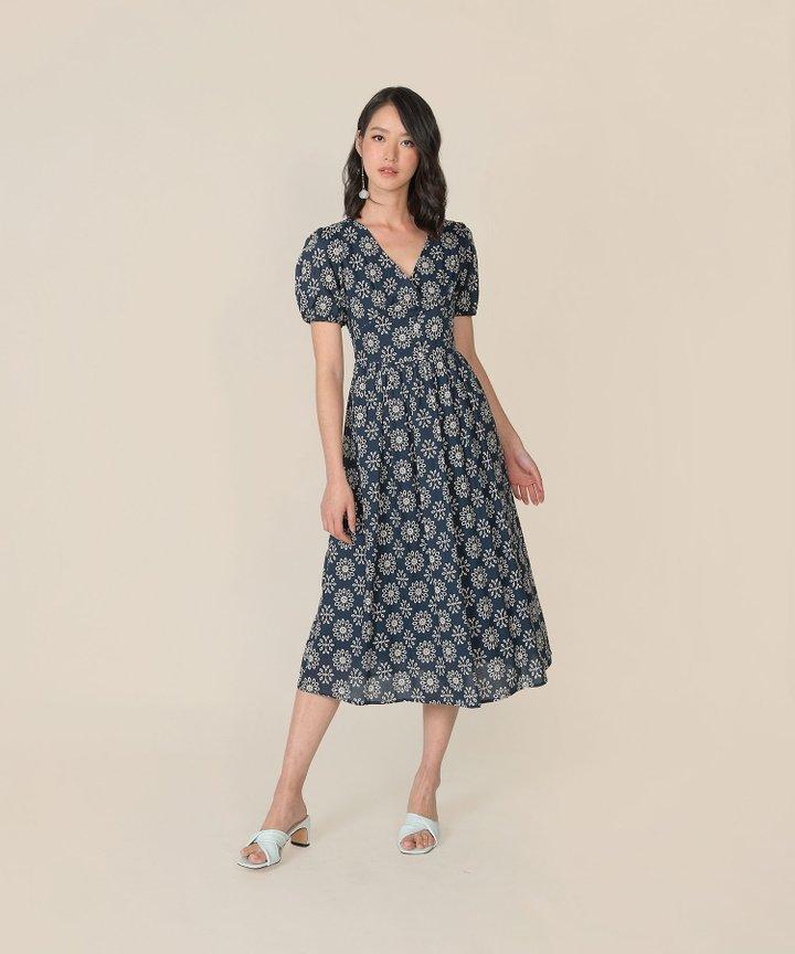 Dandelion Motif Midi Dress - Navy