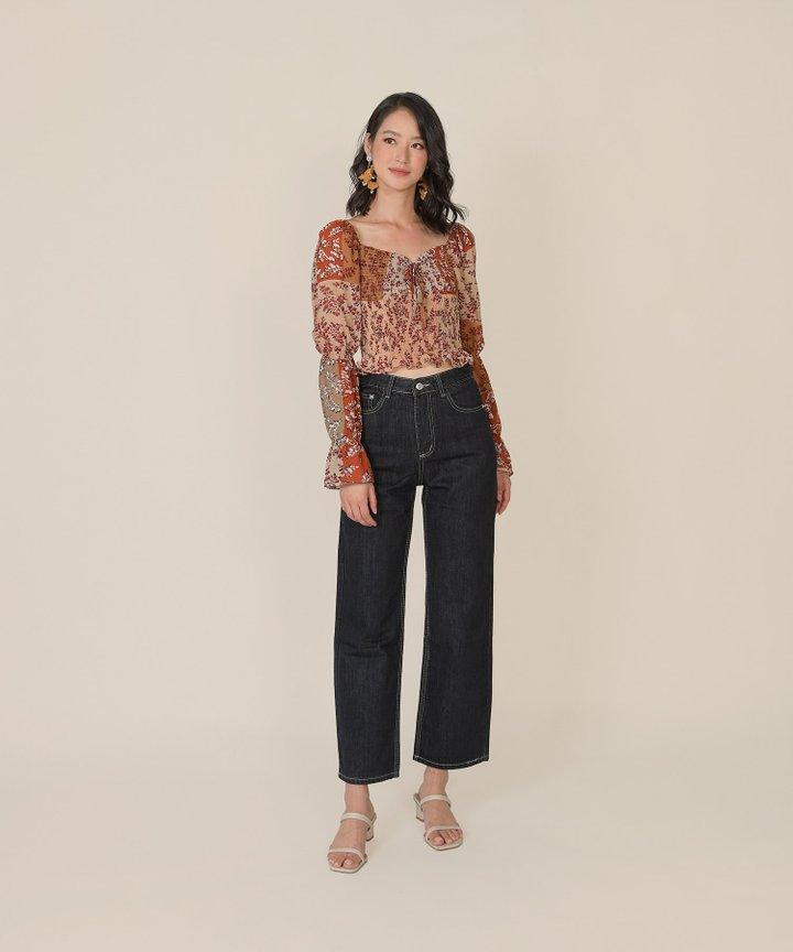 Kieta Floral Smocked Top - Rust