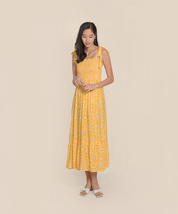 Lalisse Smocked Printed Maxi - Buttercup