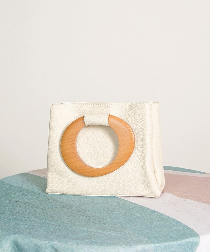 Padma Wooden Handle Bag - Cream