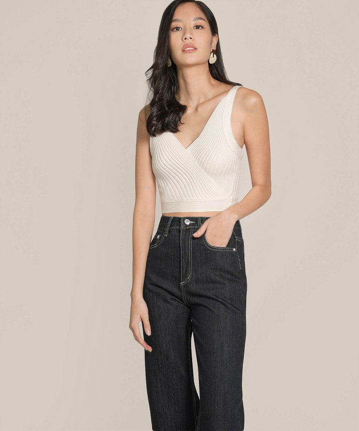 Preen Ribbed Knit Overlay Top - Ivory (Restock)