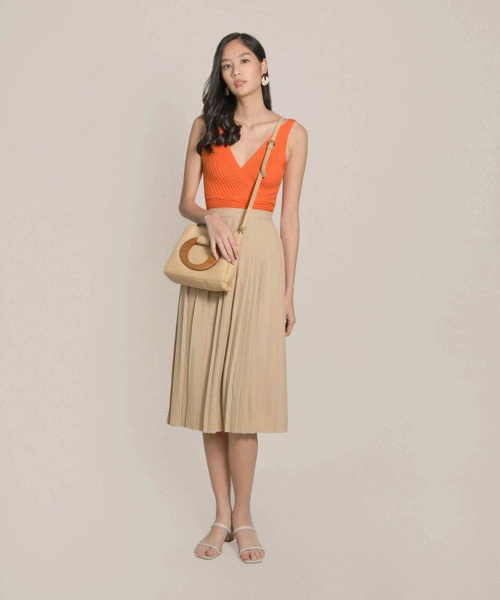 Preen Ribbed Knit Overlay Top - Orange