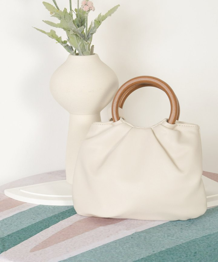 Affogato Wooden Handle Bag - Off-White