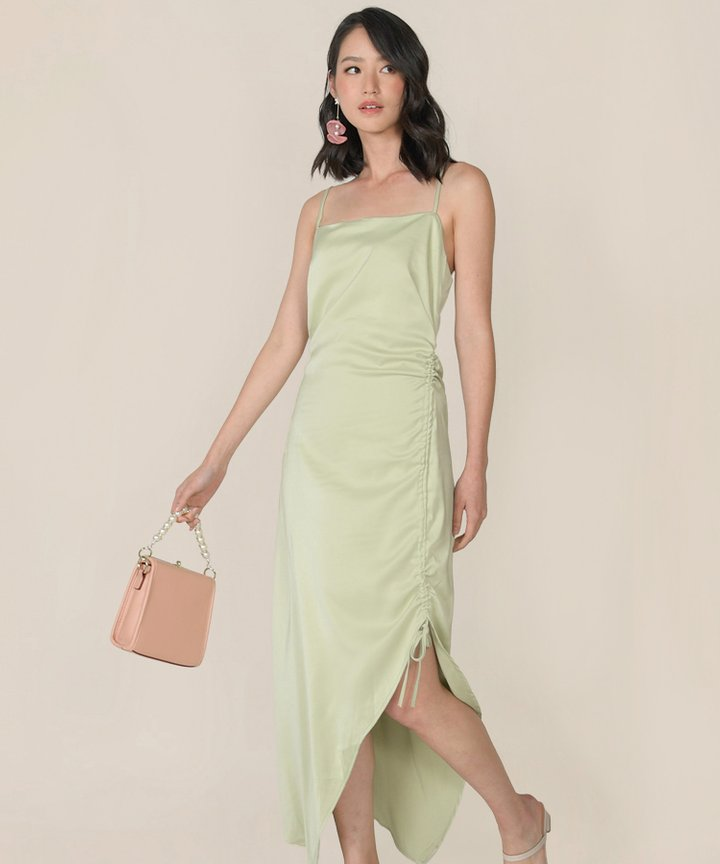 Amandine Satin Gathered Dress - Tea Green