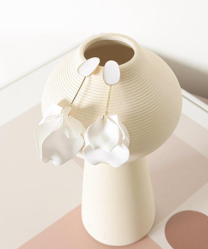 Amur Petal Drop Earrings - White