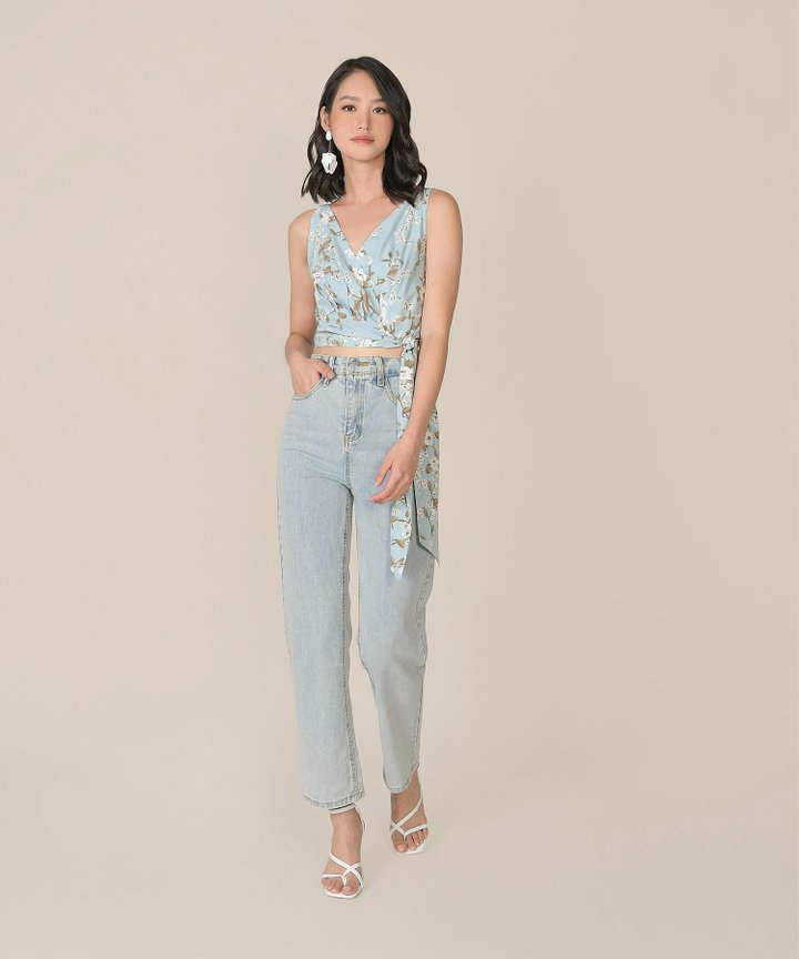 Azure Floral Wrapped Cropped Top - Pale Blue
