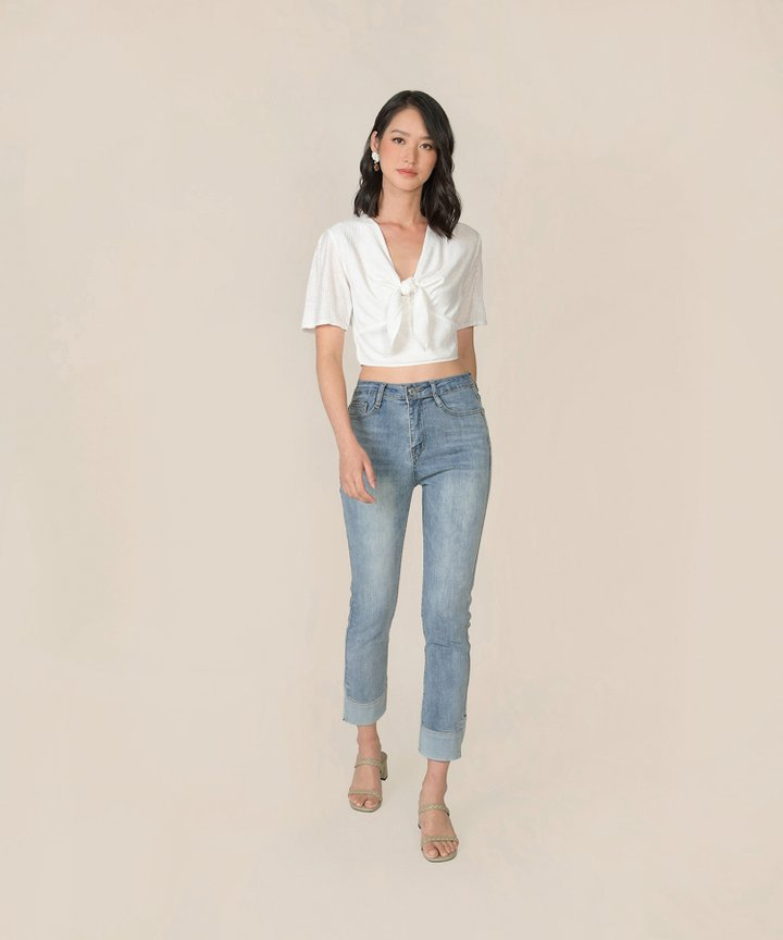 Florentine Tie-Front Cropped Top - White