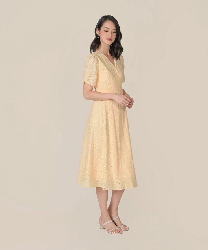 HVV Atelier Ananya Eyelet Wrap Midi Dress - Buttermilk (Restock)