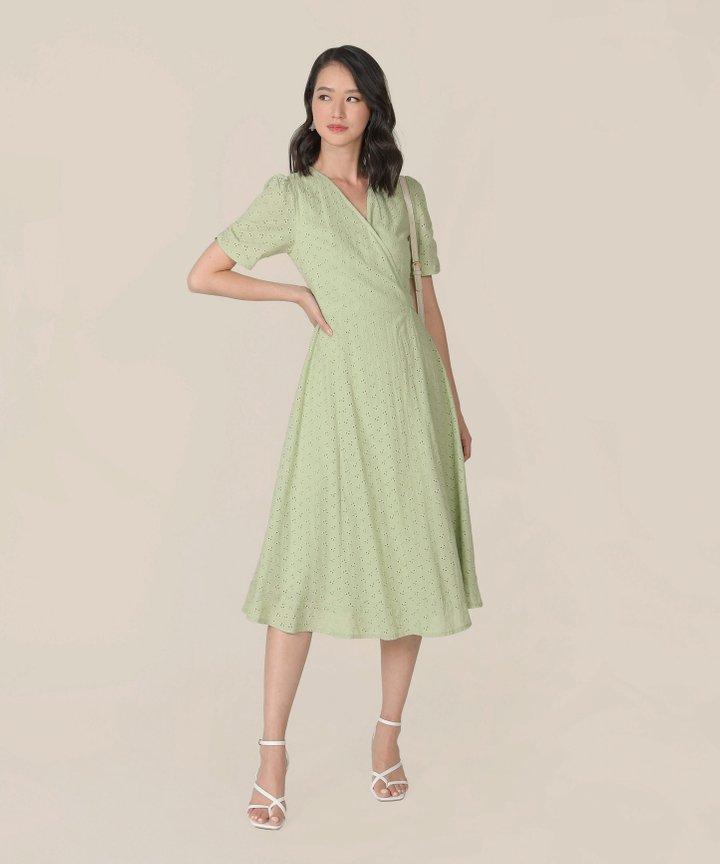 HVV Atelier Ananya Eyelet Wrap Midi Dress - Tea Green (Restock)