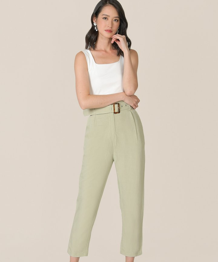 Mirador High-Waist Belted Trousers - Sage