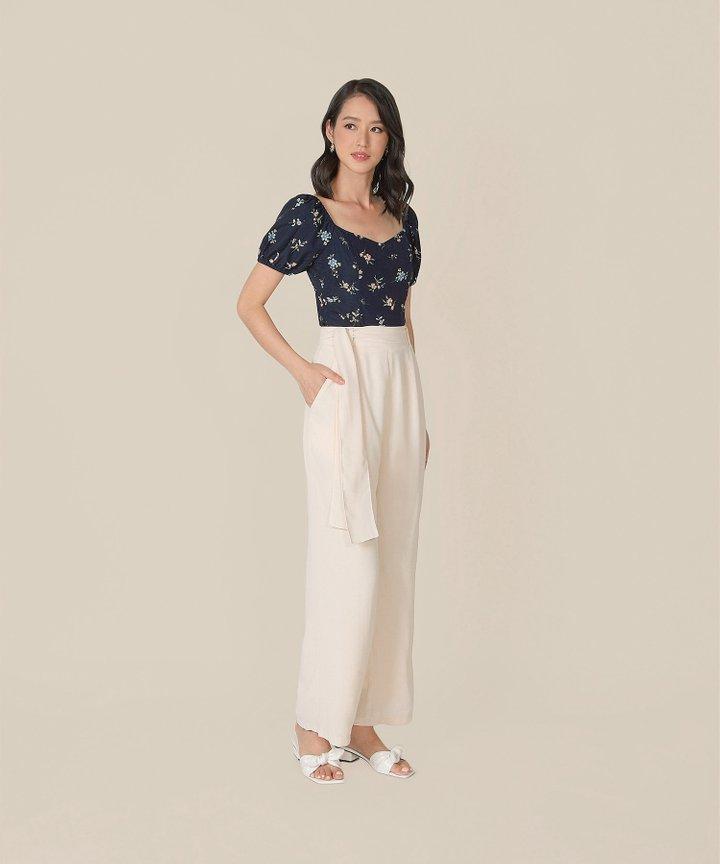 Ossette Floral Tie-Back Top - Midnight Blue (Backorder)