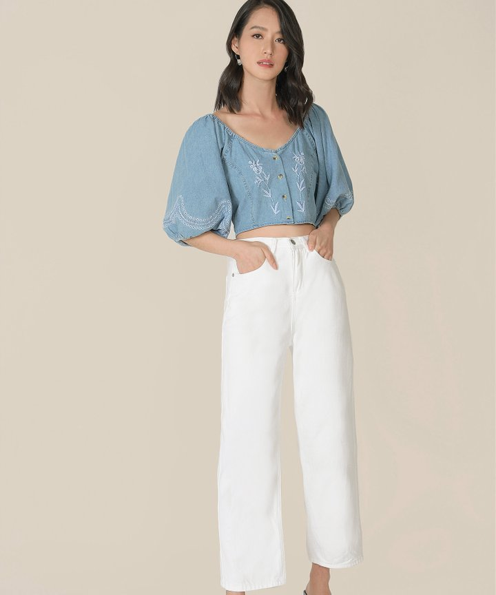 Sinclair Denim Embroidered Cropped Top (Restock)