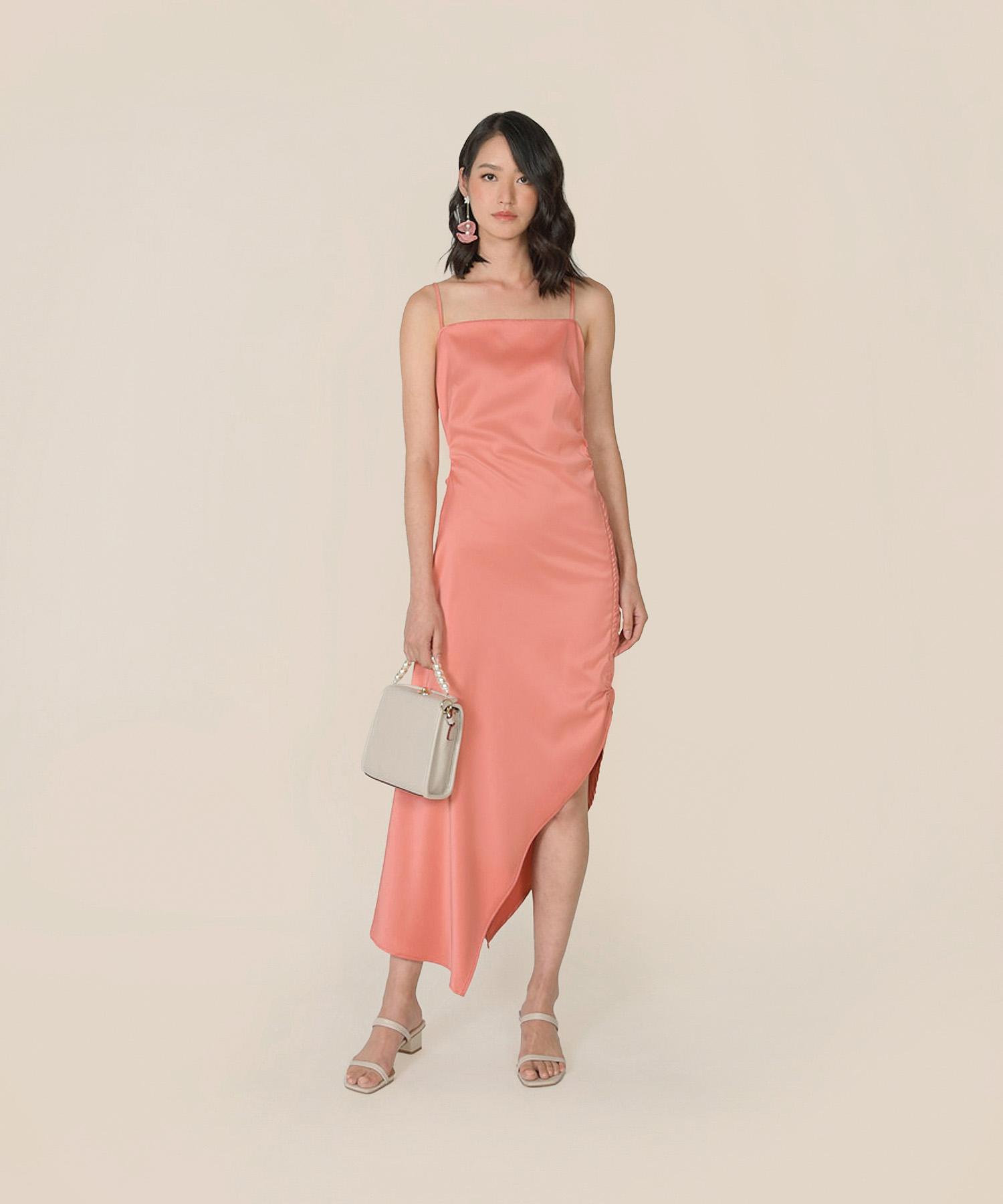 amandine-satin-gathered-dress-coral-1
