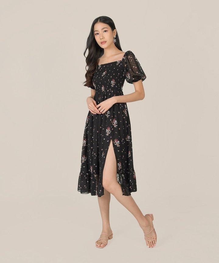 Arabella Printed Swiss Dot Midi Dress - Black (Backorder)