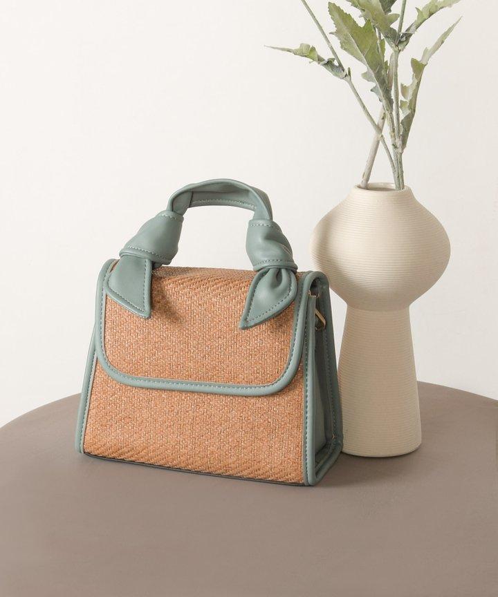 Bisou Faux Leather Trim Woven Handbag - Cadet Blue