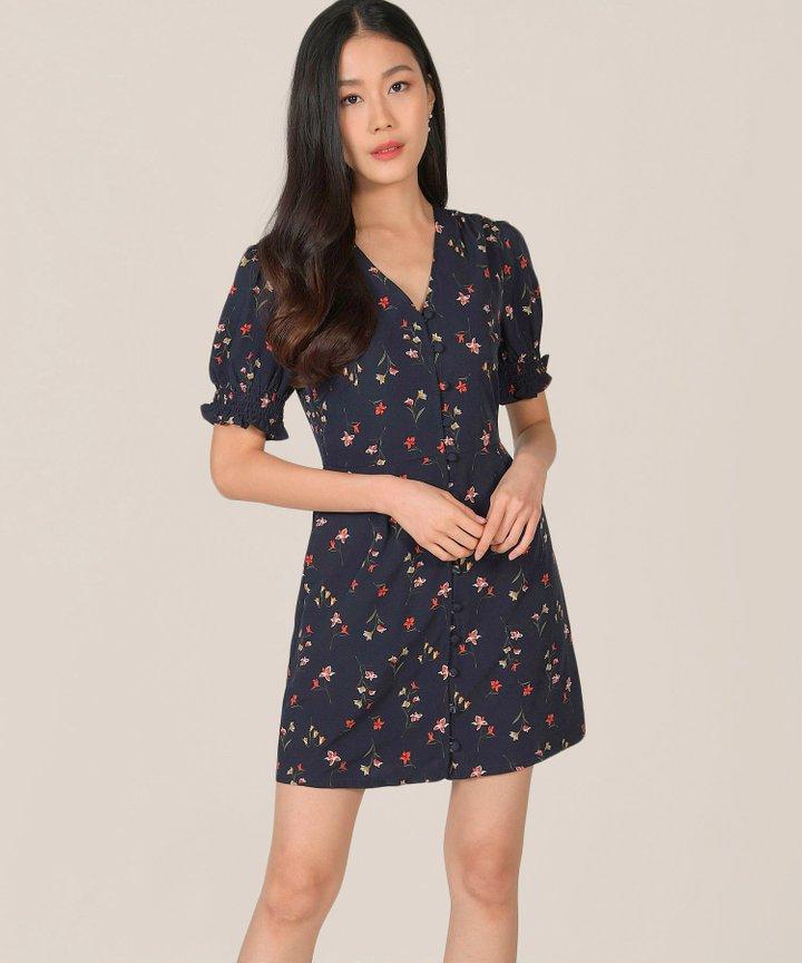 Carlotta Floral Button Down Dress - Midnight Blue (Backorder)