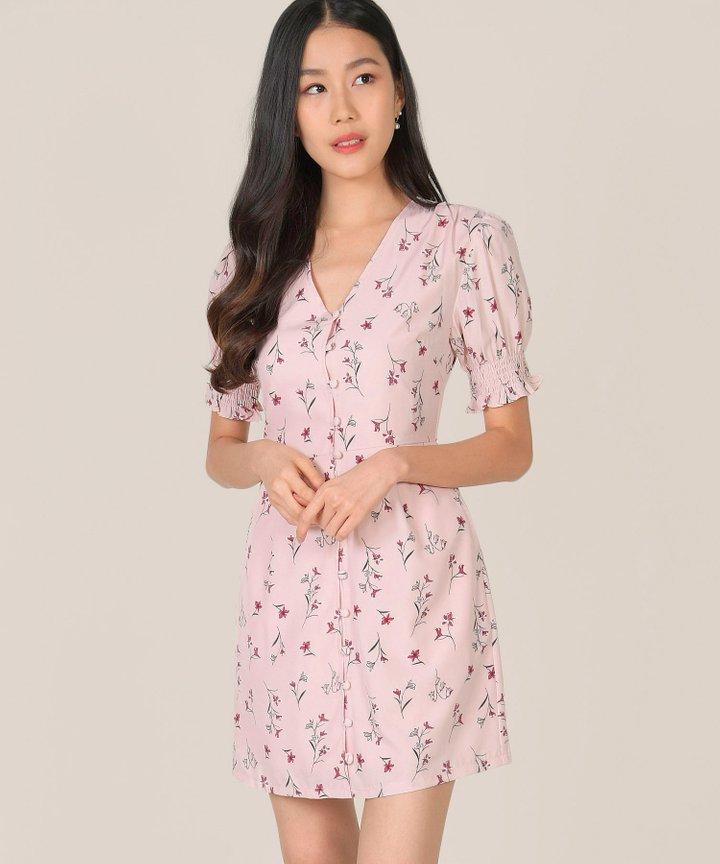 Carlotta Floral Button Down Dress - Rose Quartz