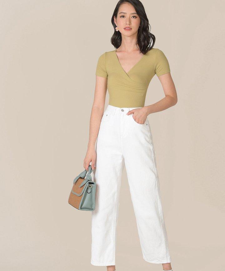 Didot Knit Surplice Bodysuit - Pale Chartreuse