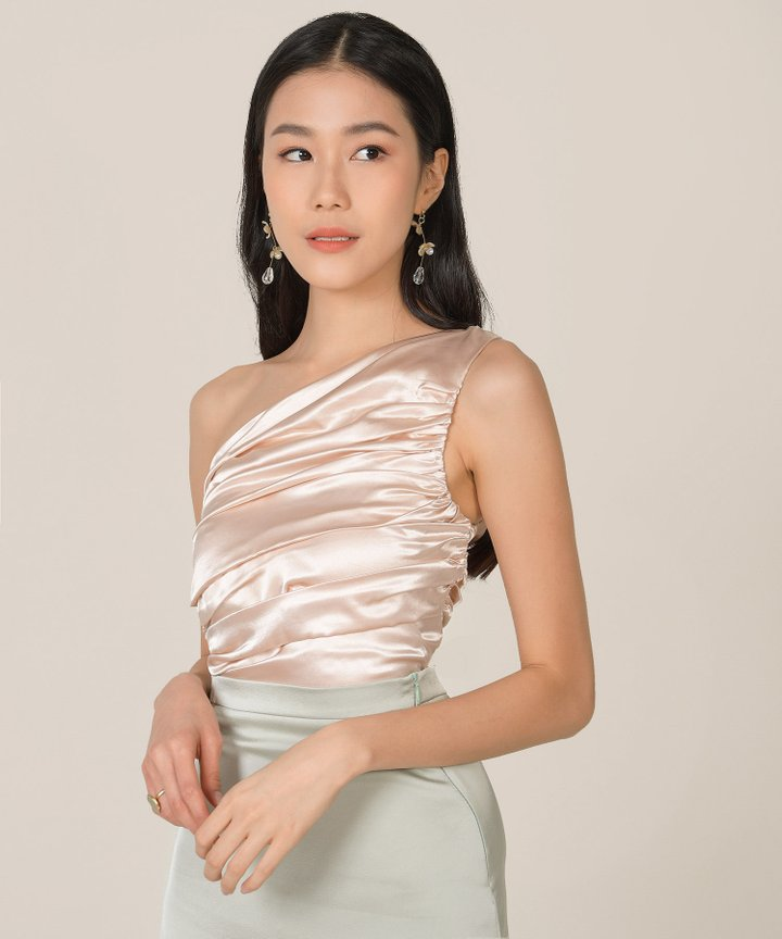 Elixir Ruched Satin Toga Top - Champagne