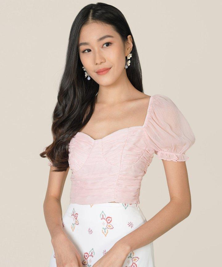 Esmire Ruched Cropped Top - Ballerina Pink (Backorder)