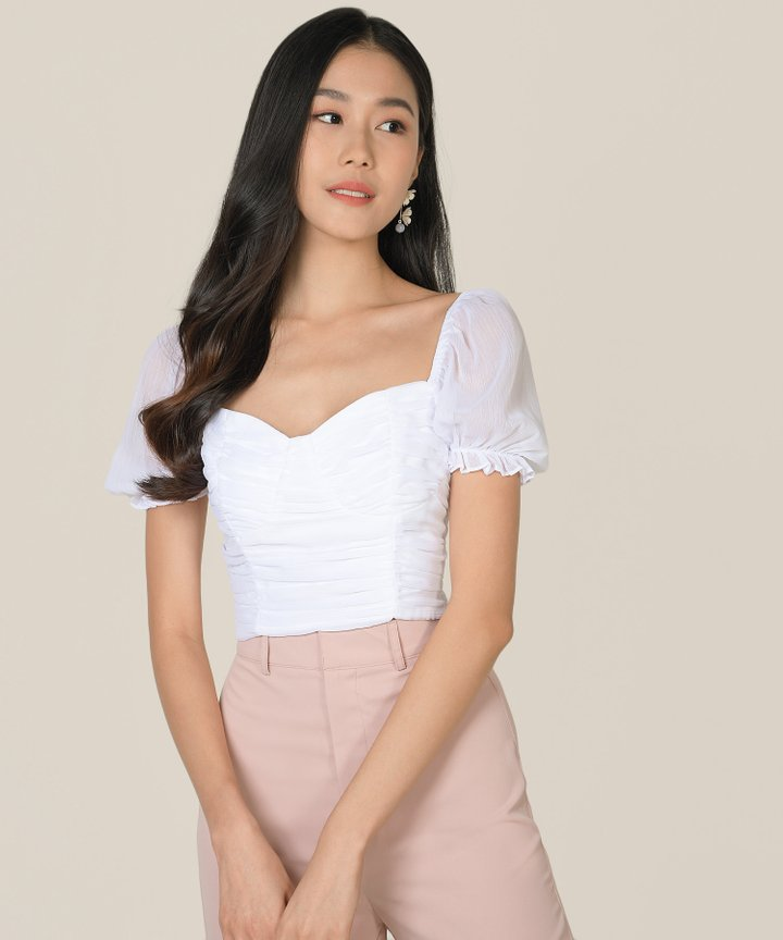 Esmire Ruched Cropped Top - Pearlescent (Backorder)