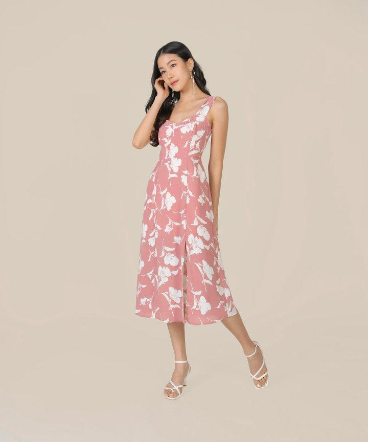 Freja Floral Midi Dress - French Pink