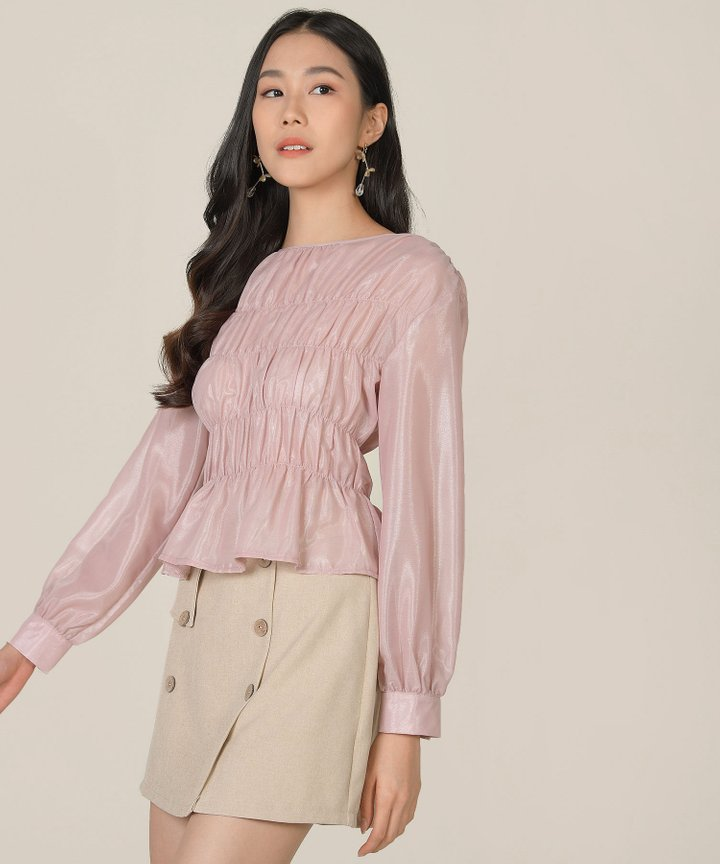 Halcyon Gathered Blouse - Apple Blossom