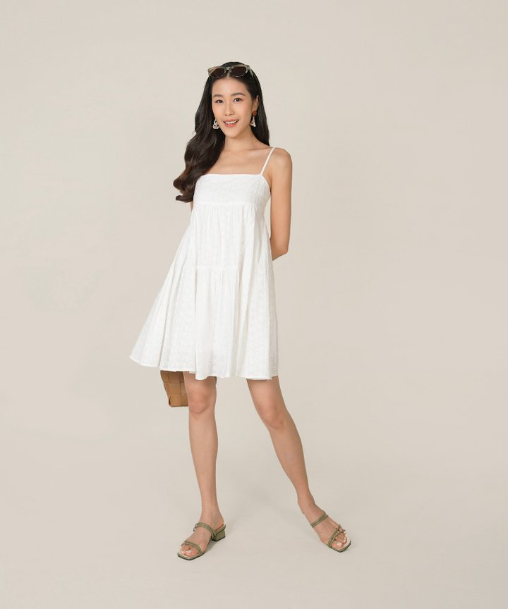 HVV Atelier Dulce Eyelet Babydoll Dress - White (Backorder)