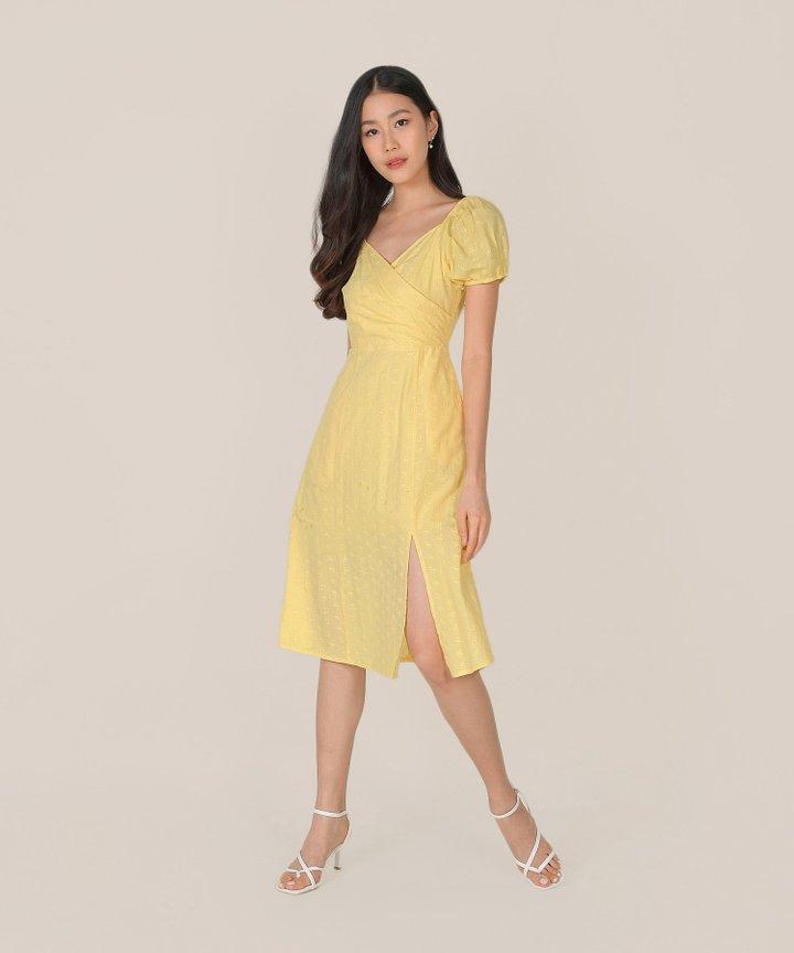 HVV Atelier Gracie Eyelet Wrap Midi Dress - Lemon
