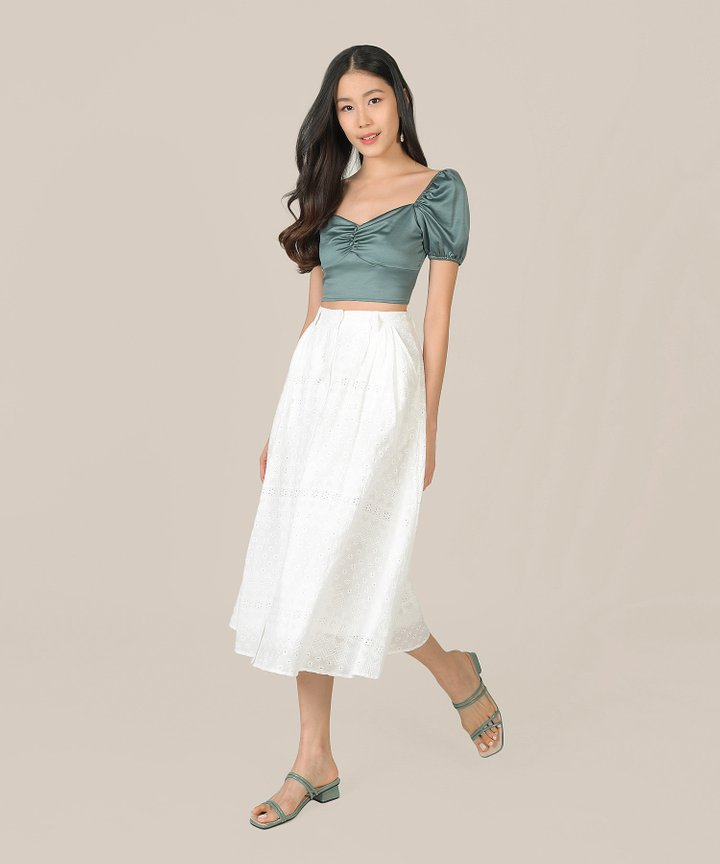 Luna Ruched Cropped Top - Emerald