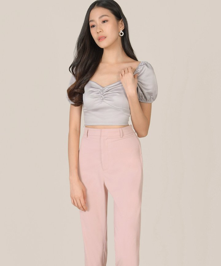 Luna Ruched Cropped Top - Silver