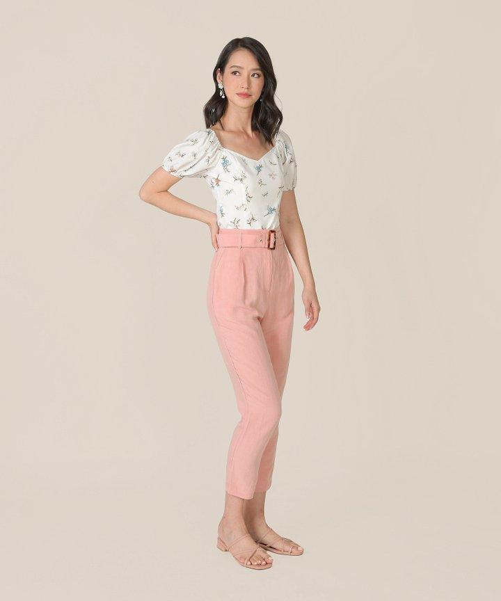 Ossette Floral Tie-Back Top - White (Restock)