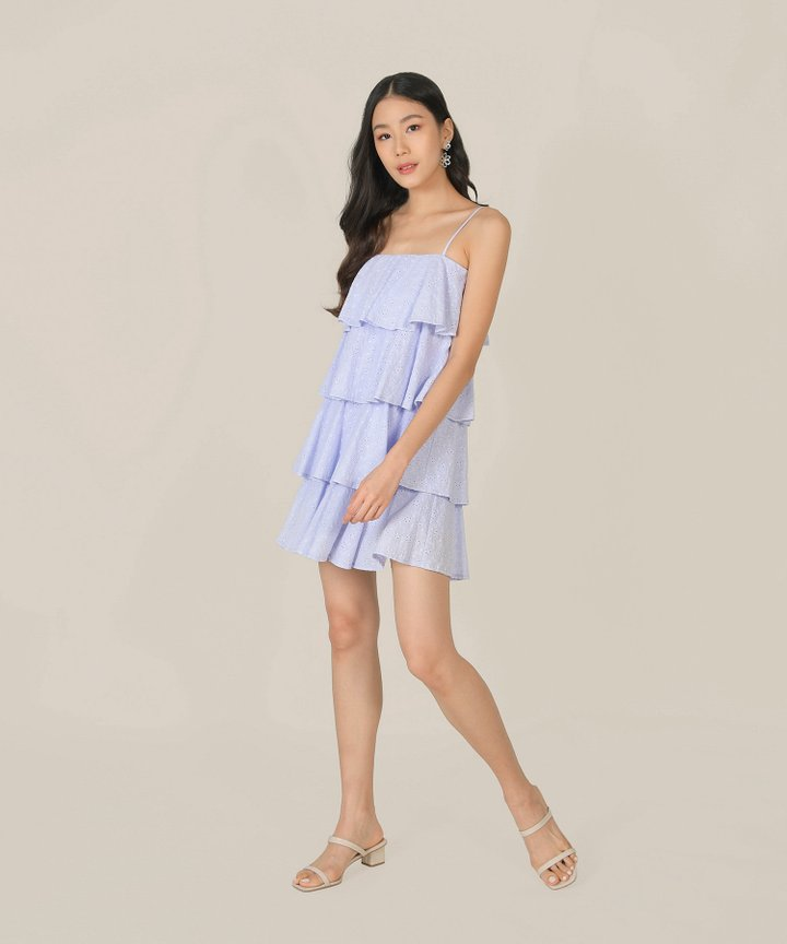 Mischa Eyelet Tiered Dress - Lilac