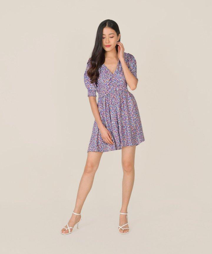 Rhapsody Floral Ruched Dress (Backorder)